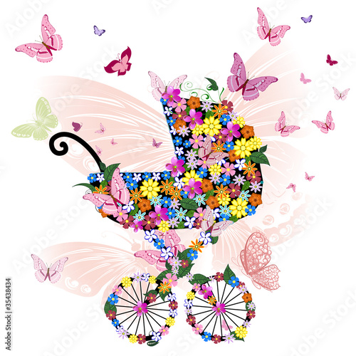 Poster Bloemen vrouw Stroller of flowers and butterflies