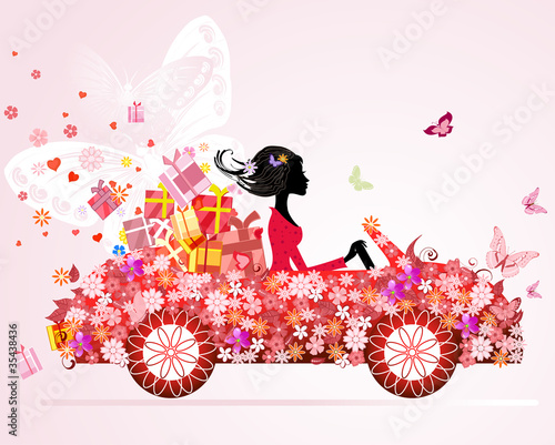 Poster Bloemen vrouw girl on a red car with floral gifts