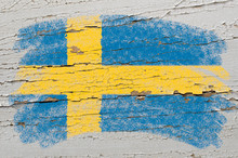 Flag Of Sweden On Grunge Woode...