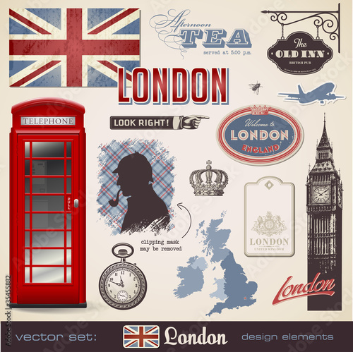 Poster Doodle vector set: London design elements