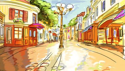 Panel Szklany Uliczki old town - illustration sketch