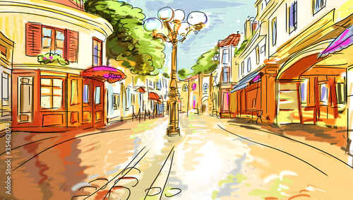 Keuken foto achterwand Drawn Street cafe old town - illustration sketch