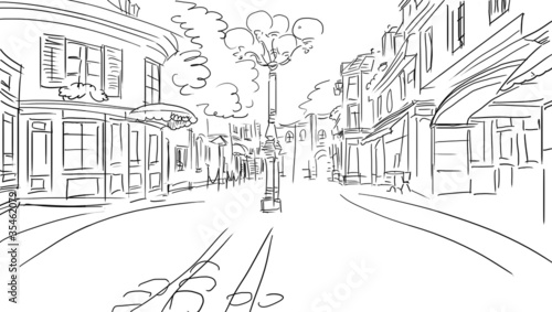 Recess Fitting Illustration Paris old town - illustration sketch
