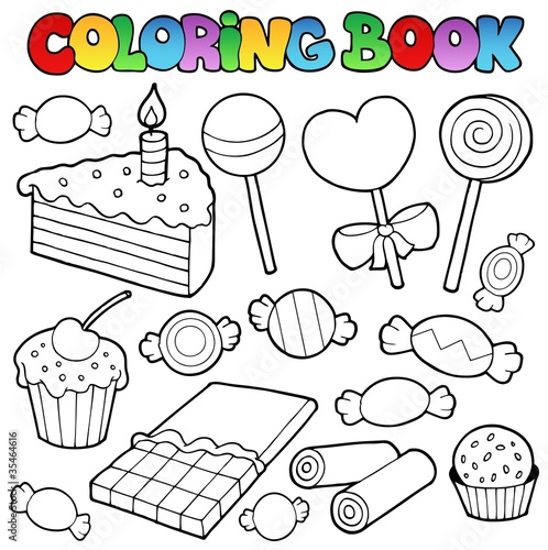 Coloring book candy and cakes - Buy this stock vector and explore ...