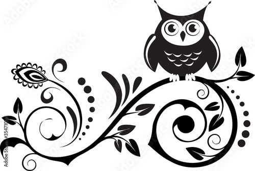 Photo Stands Owls cartoon cute own on a branch. decorative leaves
