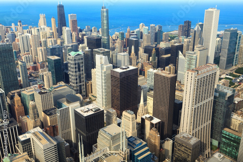 Photo  Aerial View of Downtown Chicago