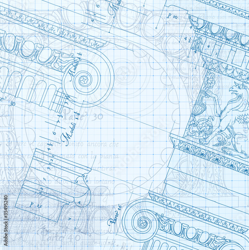 Photo Hand draw sketch ionic architectural blueprint