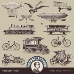 Fototapeta Środki transportu vintage means of transportation (2) - set of design elements