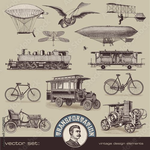 vintage means of transportation (2) - set of design elements - 35496433