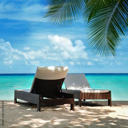 Foto-Schiebegardine Komplettsystem - Urlaub auf den Malediven