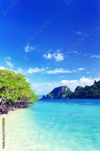 Fotobehang Donkerblauw seascape