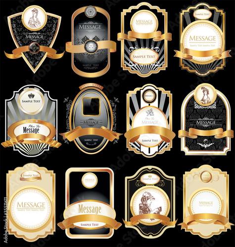 Fototapety, obrazy: gold-framed labels