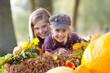 canvas print picture - girls having fun outdoor in autumn