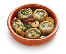 Champinones Al Ajillo , Garlic Mushrooms , Spanish Tapas Dish