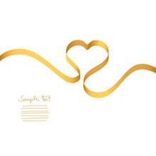 Gold Heart-Ribbon Vector