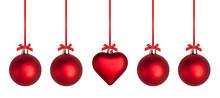 Weihnachtskugeln Mit Roter Sch...