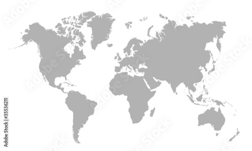 Fotografie, Obraz Vector illustration of blank world map