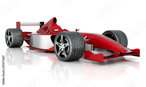 In de dag F1 image red sports car on a white background