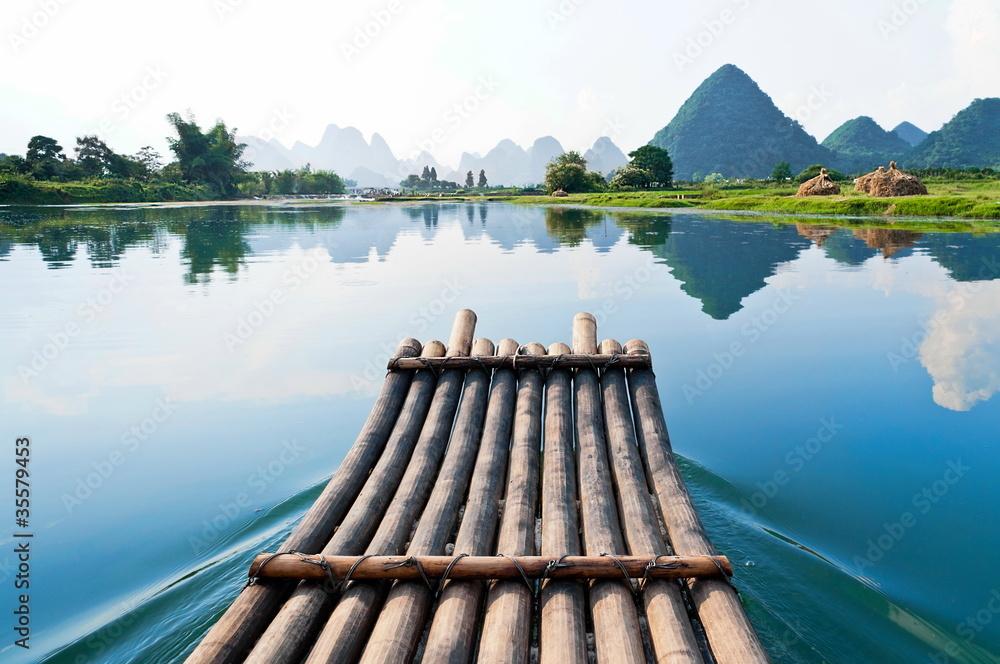 Fototapeta Bamboo rafting in Li River