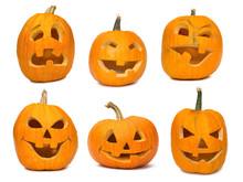 Carved Jack-o-lanterns Lit For...