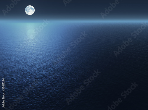 Poster Volle maan Moon over the sea
