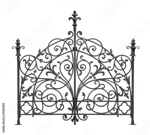 Photo Black forged gate with decorative lattice