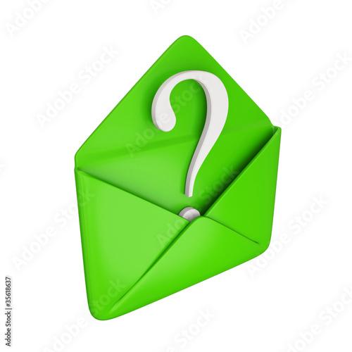 Fotografie, Obraz  Green cover with a white query symbol inside.