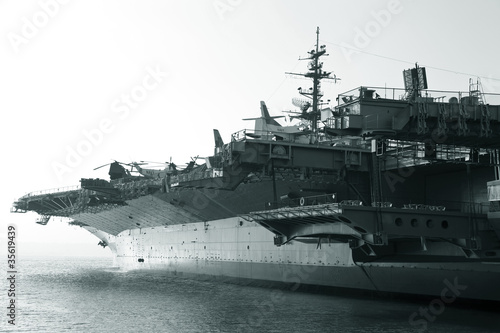 Aircraft carrier in the ocean Canvas Print