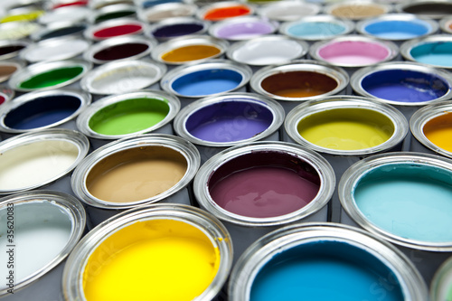 Fotografie, Obraz  Colourful paint pots