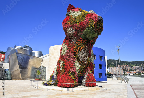 Fotografie, Obraz  Flower dog from Bilbao with modern art museum in the background