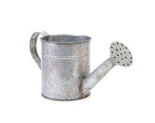 Iron Watering Can Over White Background