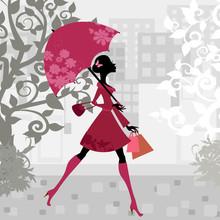 Beautiful Woman With Umbrella