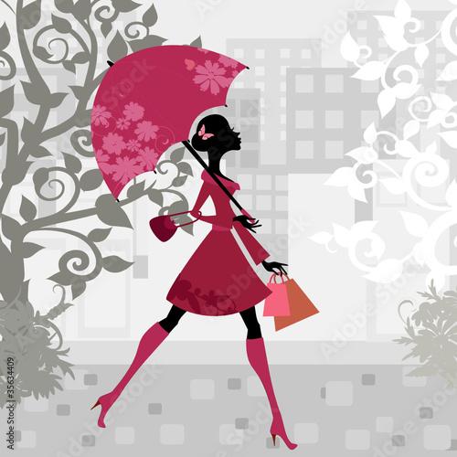 Fotobehang Bloemen vrouw beautiful woman with umbrella