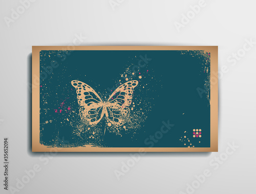 Foto op Aluminium Vlinders in Grunge Business/Calling/Visiting Chipboard Card.Butterfly.