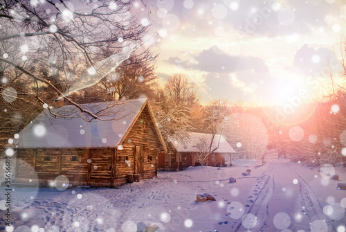 Foto op Canvas Lavendel Winter landscape