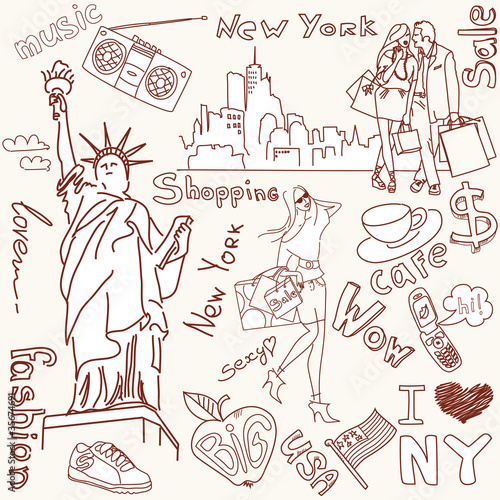 Photo sur Toile Doodle shopping in new york doodles