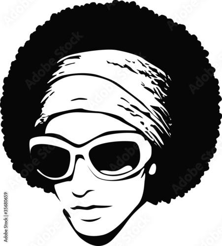 Fotobehang Vrouw gezicht afro hair pop art