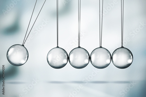 Fotografie, Obraz  Shiny Newton's cradle illustration