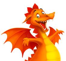 Vector Cute Cartoon Dragon Iso...