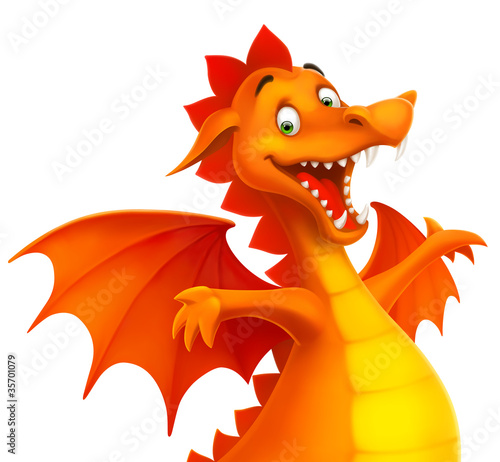 Foto  vector cute cartoon dragon isolated on white
