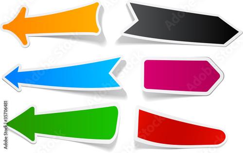 Fototapeta Color arrows sticker set. obraz na płótnie