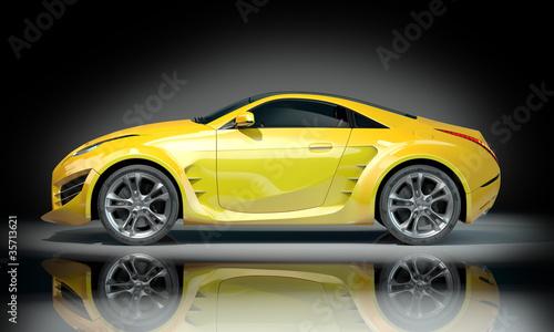 zolty-sporta-samochod-na-czarnym-tle-non-branded-projekt-samochodu