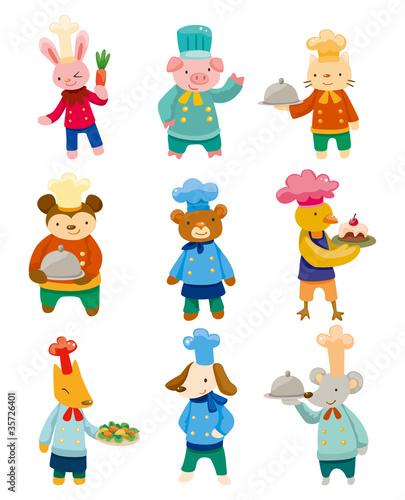 Fotobehang Kids cartoon animal chef icons