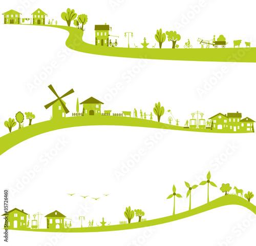 Fotografia, Obraz  ville et campagne verte