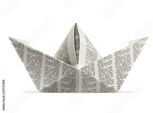 Photo  paper ship origami