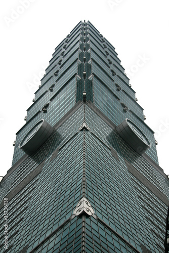 фотография  Taipei 101 with white background