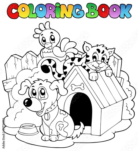 Spoed Foto op Canvas Doe het zelf Coloring book with domestic animals