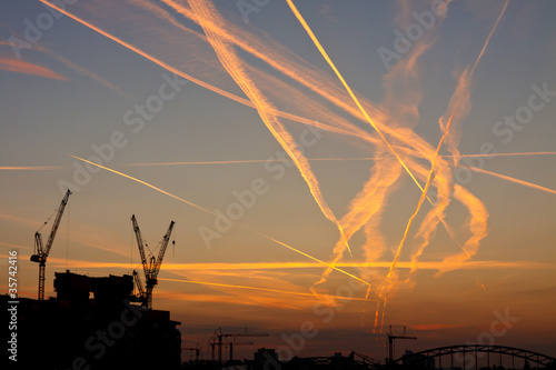 Congested Airspace at Sunrise Wallpaper Mural