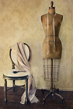 Antique Dress Form And Chair W...