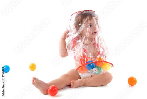 DANGER : enfant sous un sac plastique Canvas Print
